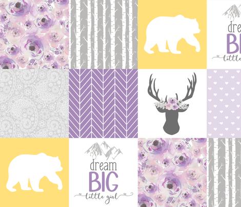Dream Big Little Girl//Purple//Yellow - Wholecloth Cheater Quilt fabric by longdogcustomdesigns on Spoonflower - custom fabric
