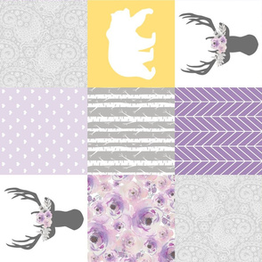 Dream Big Little Girl//Purple//Yellow - Wholecloth Cheater Quilt - Rotated