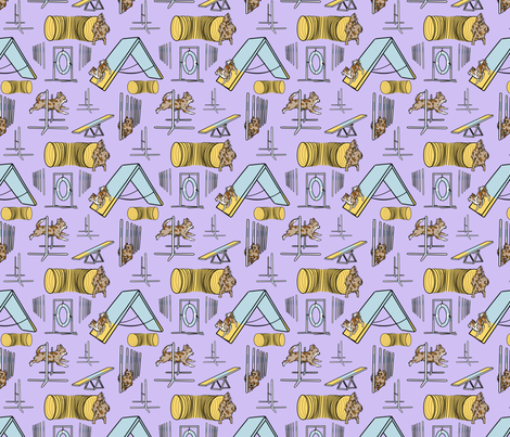 Simple red merle long coated Chihuahua agility dogs small - purple fabric by rusticcorgi on Spoonflower - custom fabric