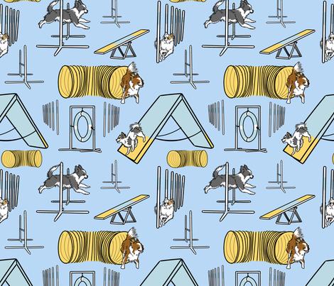 Simple long coated Chihuahua agility dogs - blue fabric by rusticcorgi on Spoonflower - custom fabric