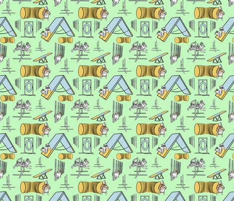 Simple merle long coated Chihuahua agility dogs small - green fabric by rusticcorgi on Spoonflower - custom fabric