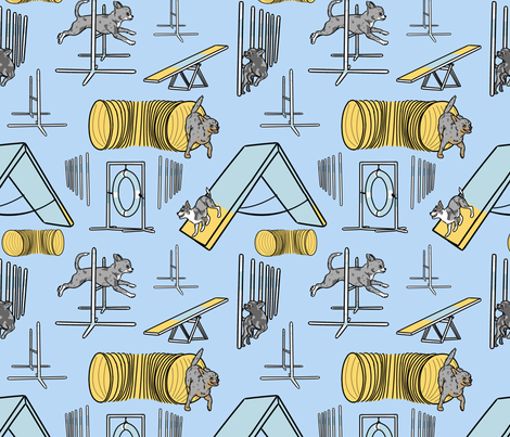 Simple blue merle smooth coated Chihuahua agility dogs - blue fabric by rusticcorgi on Spoonflower - custom fabric