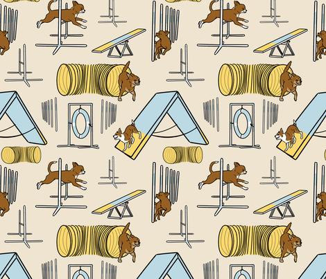 Simple chocolate smooth coated Chihuahua agility dogs - tan fabric by rusticcorgi on Spoonflower - custom fabric