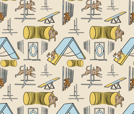 Simple red merle smooth coated Chihuahua agility dogs - tan fabric by rusticcorgi on Spoonflower - custom fabric