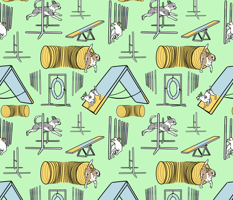 Simple merle smooth coated Chihuahua agility dogs - green fabric by rusticcorgi on Spoonflower - custom fabric