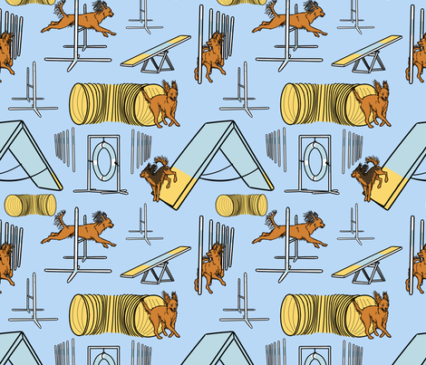 Simple Russian Toy agility dogs - blue fabric by rusticcorgi on Spoonflower - custom fabric