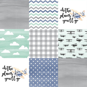 Oh the places you'll go//Retro Planes - Wholecloth Cheater Quilt