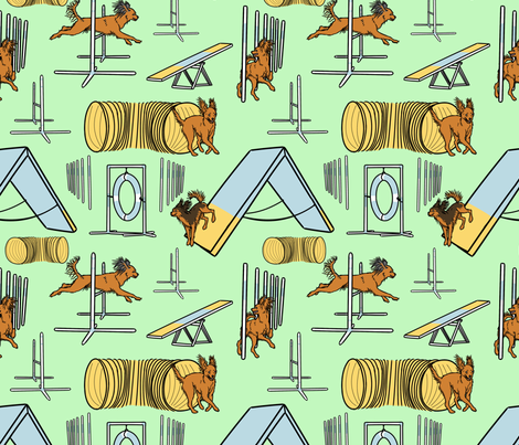 Simple Russian Toy agility dogs - green fabric by rusticcorgi on Spoonflower - custom fabric