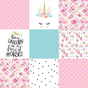 Modified Be a Unicorn//Teal//Pink - Wholecloth Cheater Quilt