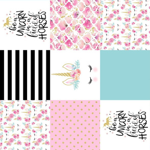Modified Be a unicorn//Teal//Pink - Wholecloth Cheater Quilt - Rotated