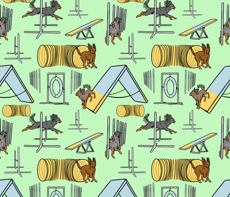 Simple Russian Toy agility dogs B - green fabric by rusticcorgi on Spoonflower - custom fabric