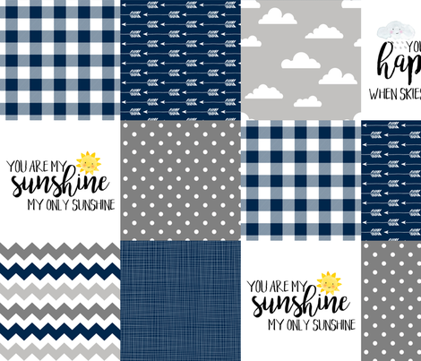 Modified You are my sunshine//Navy//Plaid - Wholecloth Cheater Quilt fabric by longdogcustomdesigns on Spoonflower - custom fabric