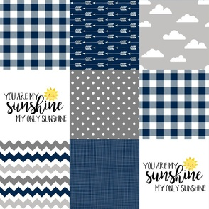 Modified You are my sunshine//Navy//Plaid - Wholecloth Cheater Quilt