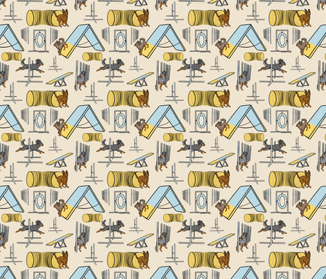 Simple Russian Toy agility dogs B small - tan fabric by rusticcorgi on Spoonflower - custom fabric