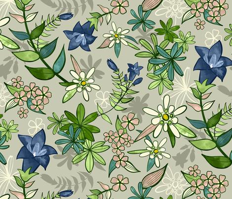 Alpine Flowers - Gentian, Edelweiss / Large Scale fabric by marketa_stengl on Spoonflower - custom fabric