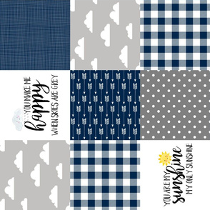 modified You are my sunshine//Navy//Plaid - Wholecloth Cheater Quilt - Rotated