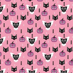 Sweet kawaii fall halloween animals pumpkins owls and cats geometric kids design pink purple SMALL