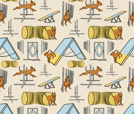 Simple smooth coated Russian Toy agility dogs - tan fabric by rusticcorgi on Spoonflower - custom fabric