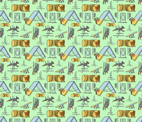 Simple smooth coated Russian Toy agility dogs B small - green fabric by rusticcorgi on Spoonflower - custom fabric
