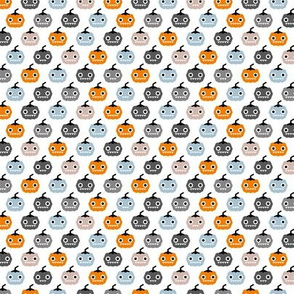 Cute geometric pumpkin love kawaii halloween design blue orange SMALL