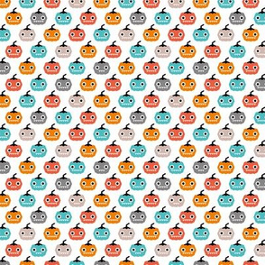 Cute geometric pumpkin love kawaii halloween design blue orange coral gender neutral SMALL