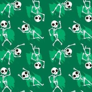 Halloween Skeletons Dancing Green Kids Halloween Cute