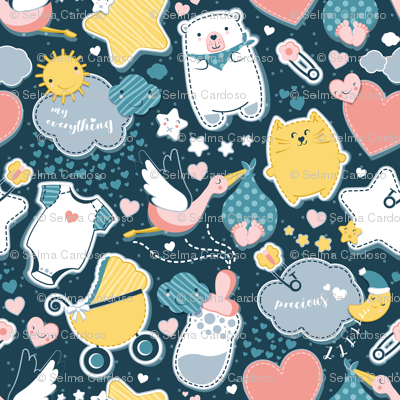 My Baby's Pattern // small scale // navy blue background with yellow // baby girl or boy