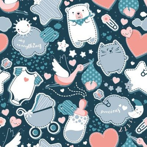 My Baby's Pattern // navy blue background with grey // baby girl or boy