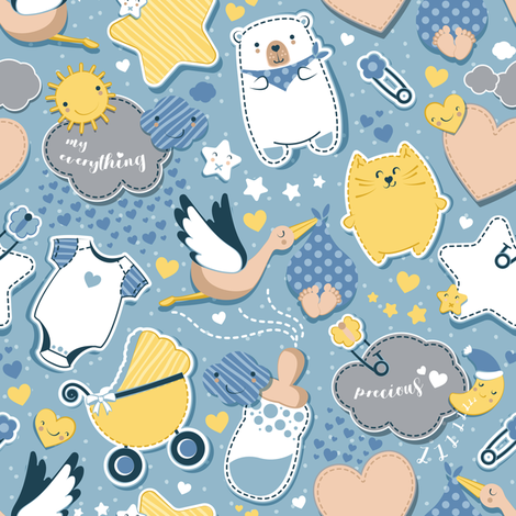 My Baby's Pattern // blue background // baby boy fabric by selmacardoso on Spoonflower - custom fabric