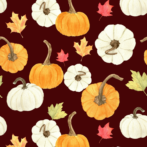 Pumpkins and Leaves Red fabric by mintpeony on Spoonflower - custom fabric