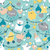 Precious Baby Love // aqua linen texture background // baby boy