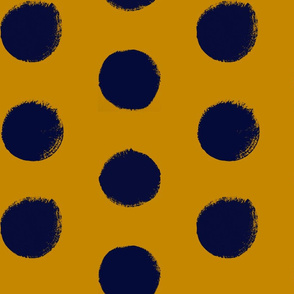 Navy on Gold - Painted Polka Dots
