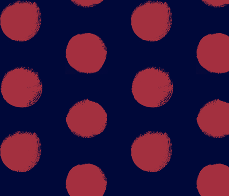 Blush on Navy - Painted Polka Dots fabric by juliatatiya on Spoonflower - custom fabric