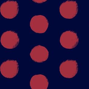 Blush on Navy - Painted Polka Dots