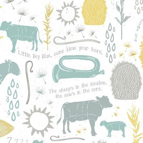 Little Boy Blue Nursery Rhyme Gender Neutral Baby + Children Print with Farm Animals, Botanicals, and Natural Elements in Soft Pastels