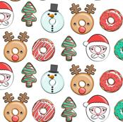 "(1.25"" scale) Christmas donuts - Santa, Christmas tree, reindeer - white C18BS"