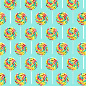 """(2.5"""" scale) whirly pops -  multi on blue - lollipop fabric C18BS"""