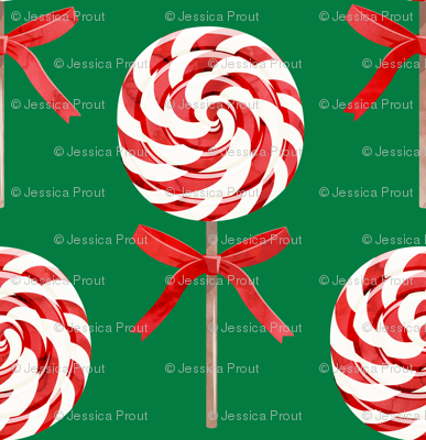 """(2"""" scale) whirly pop - Christmas red and white on green C18BS"""