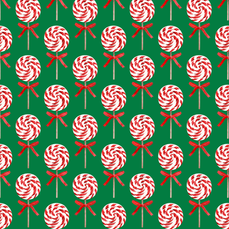"""(2"""" scale) whirly pop - Christmas red and white on green C18BS fabric by littlearrowdesign on Spoonflower - custom fabric"""