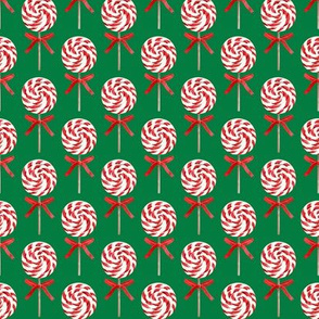 "(2"" scale) whirly pop - Christmas red and white on green C18BS"
