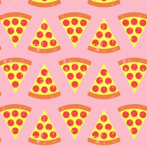 pizza slices - Pepperoni - on pink fabric by littlearrowdesign on Spoonflower - custom fabric