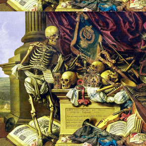 skeletons death grim reaper skulls war battles hourglass compass crown flags coat of arms music lute knight armor scepter violin music notes crowns heraldry playing cards poker dice pope hats masks trumpets eerie macabre spooky bizarre morbid gothic horro