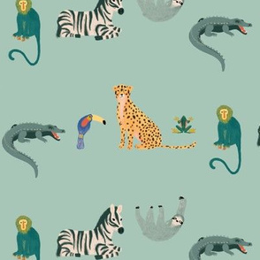 Succulent Green Animal Pattern