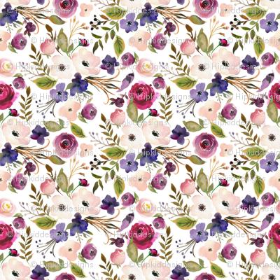 "4"" Peach, Pink and Purple Wildflowers"
