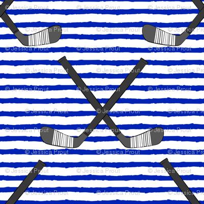 hockey sticks on stripes - royal blue C18BS