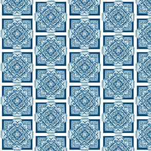 Square medallion sea blue