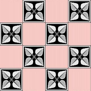 Irene: 1920s Rose Gold, Silver & Black Leaf Grid, 1920s