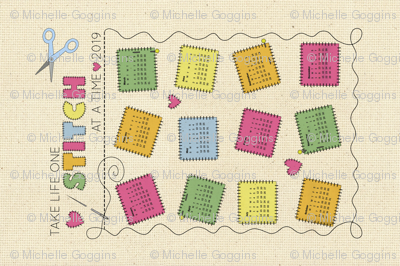 One stitch at a time tea towel calendar
