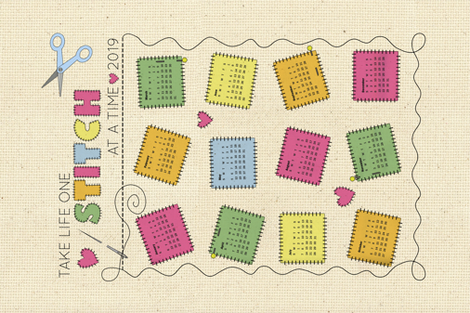 One stitch at a time tea towel calendar fabric by mgdoodlestudio on Spoonflower - custom fabric