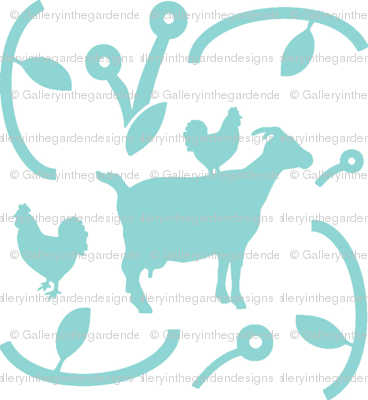 Goats and Hens Teal Blue on White, Animal Silhouettes, Farmhouse Style